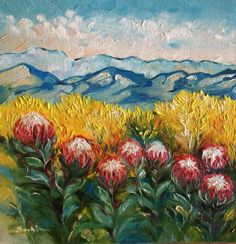 Protea landscape on canvas 200x200 Protea Art, Flower Art, Art Flowers, South African Artists, Palette Knife Painting, Acrylic Art, Watercolor And Ink, Painting Techniques, Oil Paintings