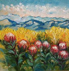 Protea landscape on canvas 200x200