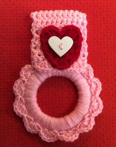 Valentine kitchen towel hanger dish towel by Yarnhotoffthehook