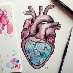 Secrets of the heart... #drawing #art #illustration #watercolour #pencil #heart