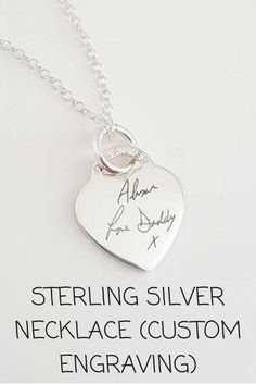 Our Sterling Silver Necklace can be personalised with any Handwriting or Drawing #keepsake #engraved #necklace #engravednecklace