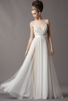 White Tulle Lace A-line Wedding Dress Bridal Gown Dresses w/ Sash & Wide Shoulder Straps Sheer Scoop Neck V-neck 4061B