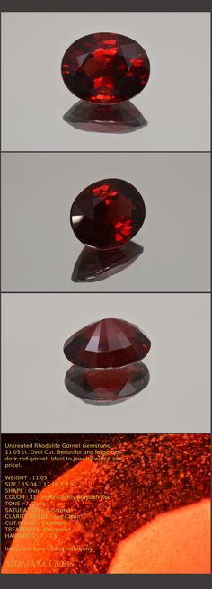 Untreated Rhodolite Garnet Gemstone. 11.03 ct. Oval Cut. Beautiful and large rich dark red garnet. Ideal to jewelry with a low price!.