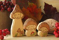 Wooden mushroom gnomes