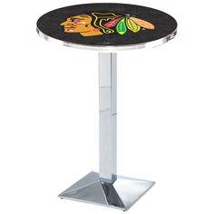 "Chicago Blackhawks 42"" Square Base Chrome Pub Table - Black - $449.99"