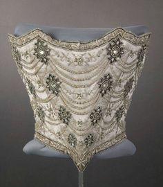 Mrs Florence Sanger Pullman in 1896.Chicago,USA.Silk taffeta & satin,tulle,silk floss,mesh,rhinestones,pearls & cording.