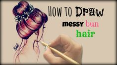 Drawing Tutorial ❤ How to draw and color  Messy Bun Hair pinning now, drawing later