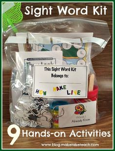 9 activities for teaching sight words.  Great kit for classroom volunteers or for parents who wish to work with their child at home
