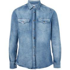 Brunello Cucinelli chest pockets denim shirt ($885) ❤ liked on Polyvore featuring men's fashion, men's clothing, men's shirts, men's casual shirts, men, shirts, tops, blue, mens blue shirt and mens denim shirt