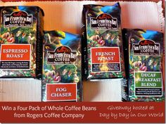 Win a Four Pack of Whole Coffee Beans from Rogers Coffee Company #giveaway ends 5/20; Open to US mailing addresses only