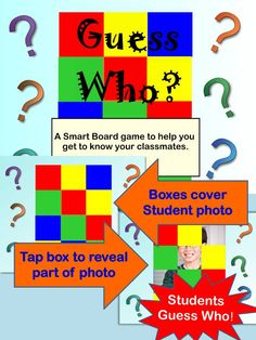 Guess Who!  Smart Board Game to help classmates get to know each other.  Terrific ice breaker for the beginning of the school year!  $