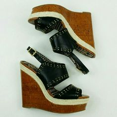 """♦Slingback Studded Wedges♦ Never worn. New with box.  Heel approx. 5.5"""" Platform approx. 2""""  Any questions or offers? Just ask.    Jessica Simpson Shoes Wedges"""