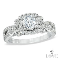 Vera Wang LOVE Collection 1-1/2 CT. T.W. Diamond Split Shank Engagement Ring in 14K White Gold
