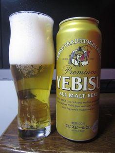 Cerveja Yebisu Premium, estilo Japanese Rice Lager, produzida por Sapporo, Japão. 5% ABV de álcool.