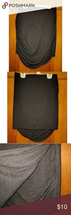 Free People Black Front Draped Wrap Look Skirt, M Black Wrap Look Skirt by Free People, Hangs Lower in the Front, Size Medium, Helping My Sister Clear Out Her Closet Free People Skirts Asymmetrical