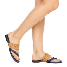 thong sandal, with an ultra-strappy vamp for an eye-catching effect.