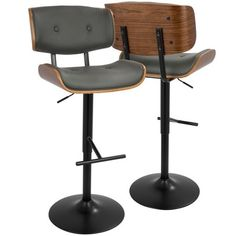 Lumisource Lombardi Mid Century Modern Adjustable Barstool