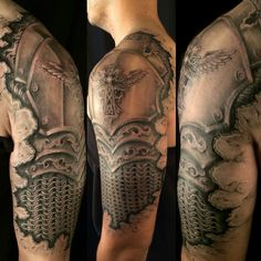 Armor Tattoo Ideas - Tats 'n' Rings Schulterpanzer Tattoo, Maori Tattoo Arm, God Tattoos, Irish Tattoos, Warrior Tattoos, Maori Tattoo Designs, Body Art Tattoos, Tattoos For Guys, Tatoos