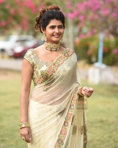 Ashima Narwal in a cream color saree with embroidery work, half sleeves blouse design and necklace Beautiful Bollywood Actress, Most Beautiful Indian Actress, Saree Photoshoot, Bridal Blouse Designs, Beauty Full Girl, Beauty Women, Indian Beauty Saree, Indian Sarees, Fancy Sarees