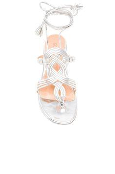NIB $180 SCHUTZ Silver Prata Eminiana Leather Sandals Woven detail Wrap tie US 8 #Schutz #Gladiator #Casual