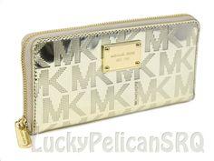 e823e00897 Michael Kors Jet Set Monogram Mirror Metallic Continental Wallet Pale Gold  NWT  MichaelKors  Continental