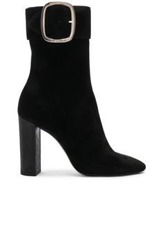 61e146e73e4 Saint Laurent Suede Joplin Buckle Boots in Black