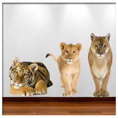Muursticker set 9: leeuw, puma en tijger