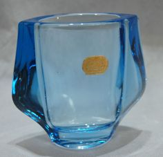 Vintage Retro 60s Blue Pressed Glass Vase Frantisek Vizner Heřmanova Sklo Label