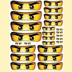 INSTANT DOWNLOAD Ninjago eyes ( 5 sizes ) - for Balloon, Stickers, Lollipop, Favor bags, Cups - Printable Files