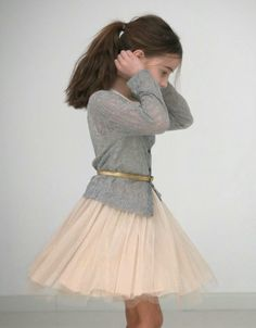 Cute Girls Outfits: pastel pink tulle skirt, dress, gray vest, gold belt