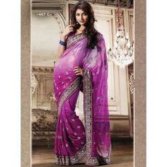Voilet with Purple Shimmer Designer saree