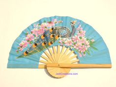 Hand fans, rayon fans, artifial silk wedding fans with hand painted peacock - manufacturer, exporter, wholesale supplier directly from Thailand - FANHA-304-10