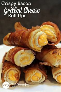 Crispy Bacon Grilled Cheese Roll Ups! My new favorite! Melty gooey cheese wrapped in crispy bacon and pan fried until crisp. Perfect tomato soup dipper!