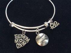 Team Mom Charm on a Silver Expandable Silver Wire Bangle Bracelet Sports Go Team Coach Gift Adjustable Softball Baseball