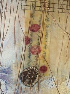 Dreams of the Alchemist by Jamie Lee Hoffer. Encaustic, oil stick, copper, found objects and silk tissue on birch cradle board with raw birch edges. Ready to hang.