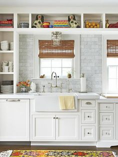 White backsplash with white cabinets white kitchen with open shelves farmhouse sink marble and marble subway . Backsplash For White Cabinets, White Kitchen Cabinets, Kitchen Redo, New Kitchen, Kitchen Remodel, Open Cabinets, Marble Countertops, White Counters, Display Cabinets