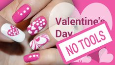 DIY Valentine's Day Pink Heart! Without any Tools - Nail Art Tutorial to Paint your Nails at Home!