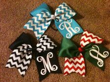 "Monogrammed Big Cheer Hair Bow 3"" grosgrain Ribbon Chevron Print Personalized Cheerleading gift for Cheerleader or any ponytail"