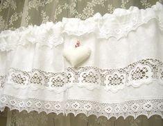 Weiß vintage shabby chic Landhausstil Gardine 192