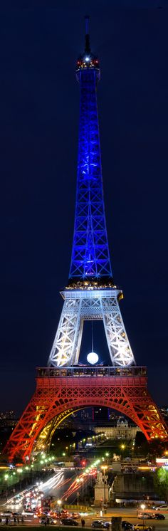 France, Paris ~ The Eiffel tower illuminated with the Colors of the French Flag