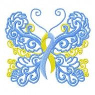 This beautiful butterfly satin stitch design is meant to raise awareness to the cause of Down Syndrome. It stitches with a minimum of jump stitches and would be appropriate for placing on totes, shirts, and home dcor items. It would also be appropriate for use with Mylar under the butterfly.