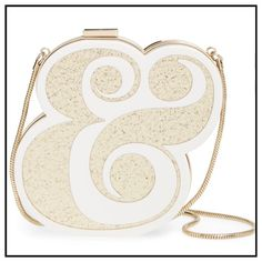 """HP✨ Spade """"Wedding Belles"""" Clutch✨ ✨Beautiful Kate Spade Ampersand Wedding Or Special Occasion Clutch✨6.1""""H X 6.5""""W X 6.2"""" D✨Beautifully Lined With Metallic """"Two Of A Kind"""" Unique  Signature Kate Spade Lining✨14 K Gold Plated Hardware✨Can Be Used Solely As A Clutch Or Carried With The Detachable Snake Chain✨ This Clutch Is Unique And Has Never Been Used Or Carried✨Its Perfect For Any And All Wedding Events For Bride Or Guests✨Pictures To Follow kate spade Bags Clutches & Wristlets"""