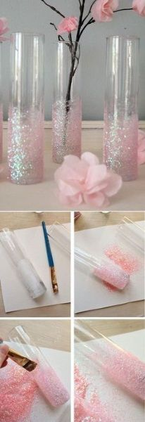 Mother's Day Gifts & Crafts : DIY Glittery Pink Vases In Navy and Coral of course! DIY Glittery Pink Vases In Navy and Coral of course! Cute Crafts, Diy And Crafts, Arts And Crafts, Creation Deco, Paper Flowers, Diy Gifts, Projects To Try, Creative Inspiration, Style Inspiration