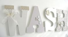 Wash+Large+Wooden+Letters+Decoupaged+Wooden+Letters+by+LetterLuxe - etsy. I have these basic letters from hobby lobby