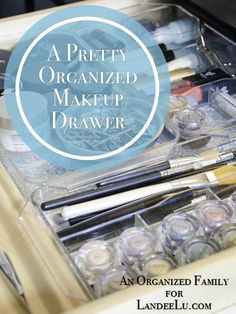 A Pretty Organized Makeup Drawer with pretty paper and acrylic tray organizers. Make organization look good!