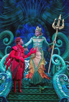 """as Sebastian in Paper Mill Playhouse (Millburn, New Jersey) production of """"The Little Mermaid"""" musical. Little Mermaid 2016, The Little Mermaid Musical, Little Mermaid Costumes, Merman Costume, Sea Costume, Broadway Costumes, Theatre Costumes, King Triton Costume, Sebastian Costume"""