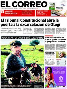 Los Titulares y Portadas de Noticias Destacadas Españolas del 10 de Mayo de 2013 del Diario El Correo ¿Que le parecio esta Portada de este Diario Español?