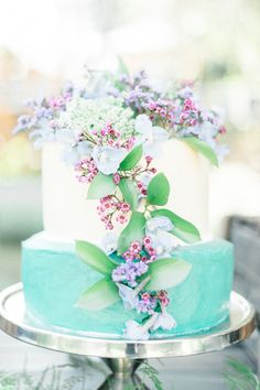 Colorful turquoise and lilac wedding cake: http://www.stylemepretty.com/destination-weddings/2015/11/24/intimate-romantic-south-african-wedding/ | Photography: Louise Vorster - http://www.louisevorsterphotography.co.za/