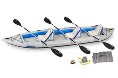 FasTrack 465ft Inflatable Deluxe Kayak Package For Three