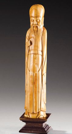 A CARVED IVORY FIGURE OF SHOULAO, CHINA, MING DYNASTY, 17TH CENTURY